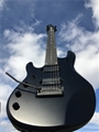Ernie Ball/Music Man John Petrucci Stealth Black Piezo/ JP Inlay Left Handed 7-String Electric Guitar