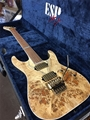 ESP USA M-II DX Natural Gold Poplar Burl Top 6-String Electric Guitar