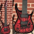 "Dean USA Rusty Cooley Signature RC8  Standard model   ""Red Xenocide"" Graphic 8-String Electric Guitar"