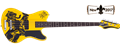 Schecter DIAMOND SERIES  Simon Gallup Gloss Yellow w/Graphic 4-String Electric Bass Guitar 2017