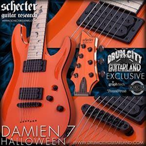 schecter diamond series dcgl exclusive damien 7 halloween orange 7 string electric guitar