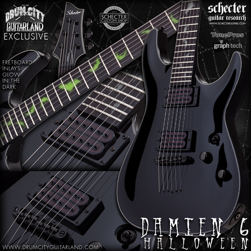 Schecter DIAMOND SERIES DCGL EXCLUSIVE Damien Glow In The Dark Bats 6-String Electric Guitar 2017
