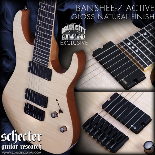 Schecter DIAMOND SERIES DCGL EXCLUSIVE     Banshee-7 Active Natural 7-String Electric Guitar