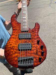 Ernie Ball/Music Man BFR Stingray-5 HH Giants Orange Quilt  5-String Electric Bass Guitar 2019