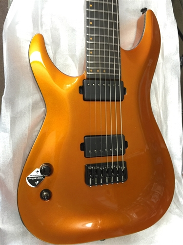Schecter DIAMOND SERIES SIGNATURE SERIES KEITH MERROW KM-7  Lambo Orange  Left Handed 7-String Electric Guitar