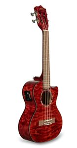 Lanikai QM-RDCET  Quilted Maple Red Stain Tenor Acoustic/Electric  Ukulele