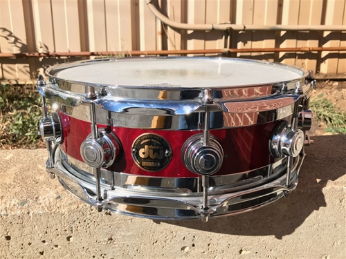 "USED DW Collectors USA EDGE Red Lacquer Maple/Brass Shell  5 1/2 x14"" Snare Drum"