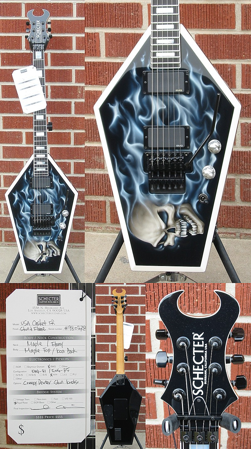Schecter USA CUSTOM SHOP MASTERWORKS 2010 NAMM SHOW Casket FR Skull N Flame  6-String Electric Guitar