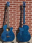 Dean EQABA Exotica Quilt Ash Trans Blue  4-String Acoustic Electric Bass Guitar